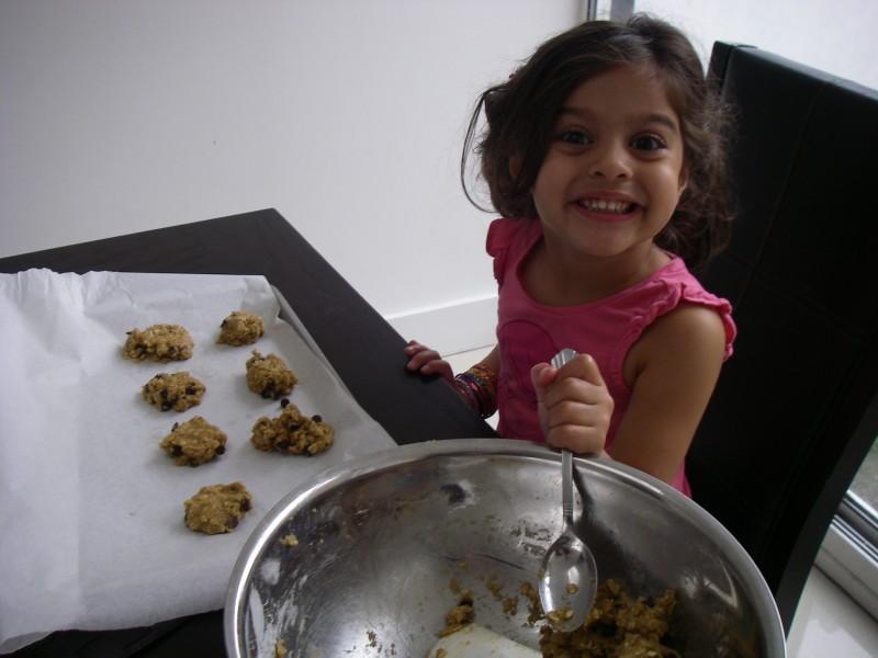 Niece Iliana helping me make cookies.