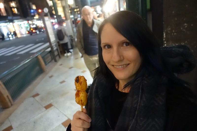 Dango (roasted mochi snack) in Kyoto, Japan.