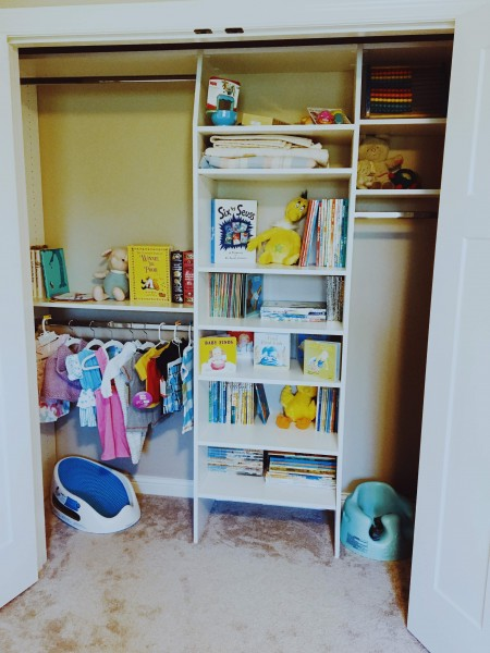 The closet in the baby's room, with their own little library front and center!