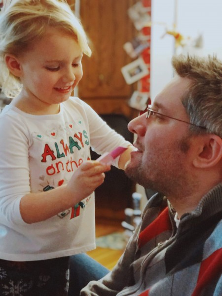 Paul's a great sport when our niece wants to do girly things with him, like applying fake makeup