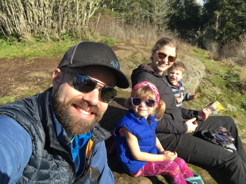 Enjoying warm sunshine on our hike