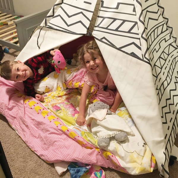 L + G enjoy sleeping in their TeePee every once in a while
