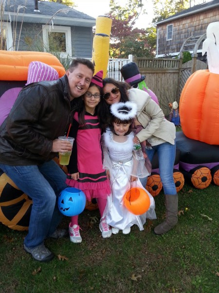 Walking through the neighborhood with our nieces for Halloween