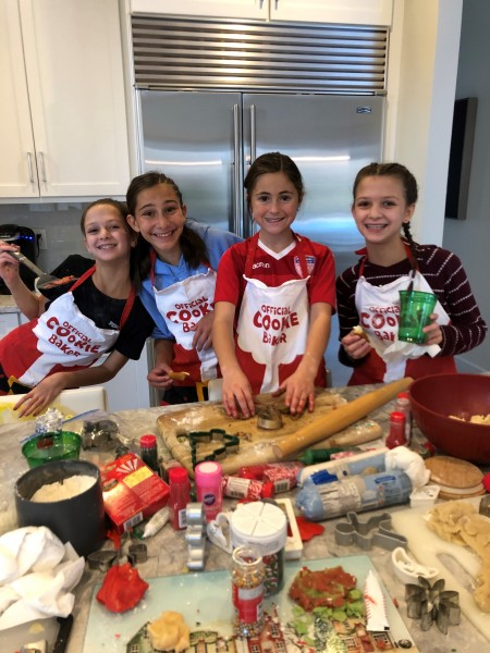 Baking cookies with our nieces