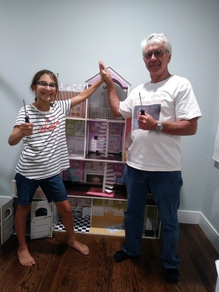 Tammy's dad and her Goddaughter building a doll house at our house