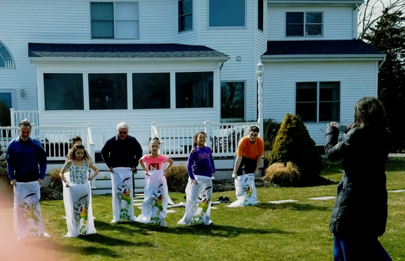 Easter is not Easter without a potato sack race at our house!
