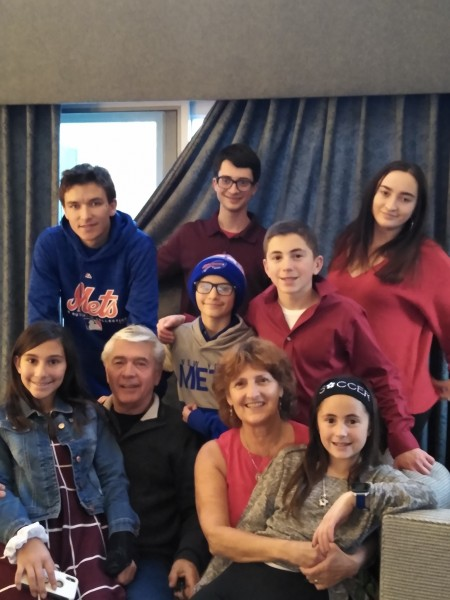 Mom and dad and all of their grandchildren at our house