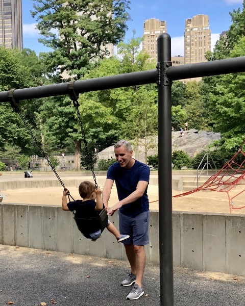 Fun on the swings in NYC's Central Park