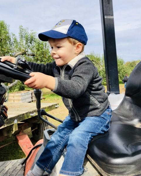 Beep beep! Behind the wheel of a big tractor!