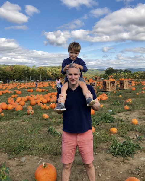 With Daddy at the pumpkin patch