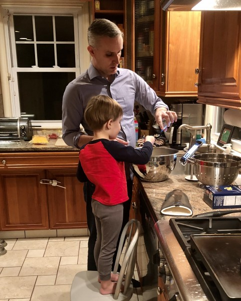 Helping Daddy in the kitchen