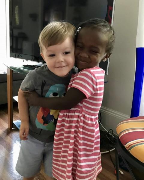 A big hug from Kiernan's friend Avery