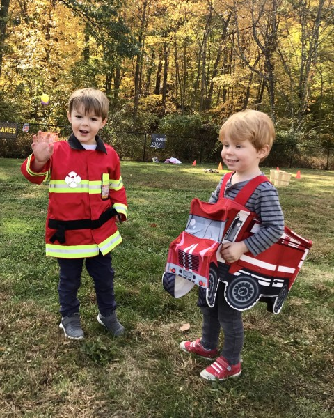 Kiernan and his friend Henry LOVE fire trucks