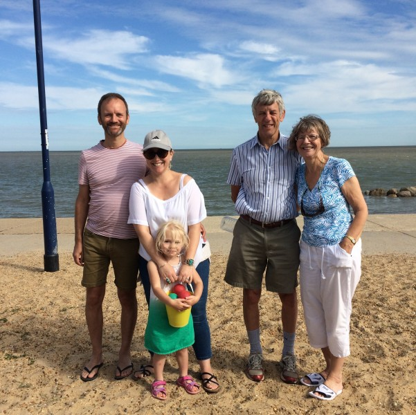 At the seaside in England with our niece, Isla and Tim's mom and dad.