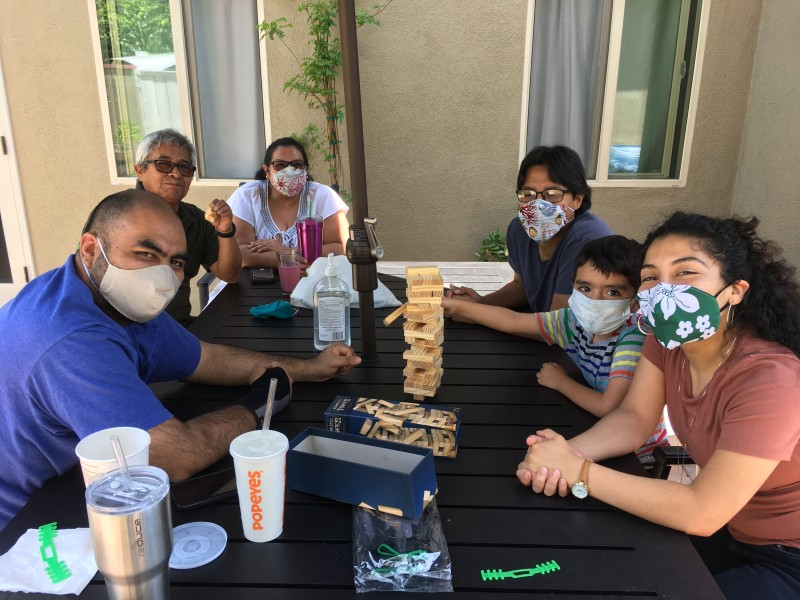 Hanging out with Grandma and Abuelo (Paulo's parents), Tio (Paulo's brother), and Tia (our sister-in-law) in our backyard....quarantine-style!
