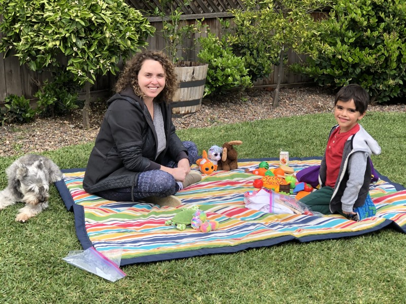 Having a picnic in our backyard