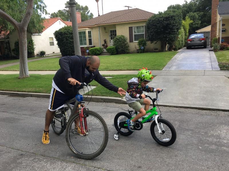 Riding bikes around our neighborhood