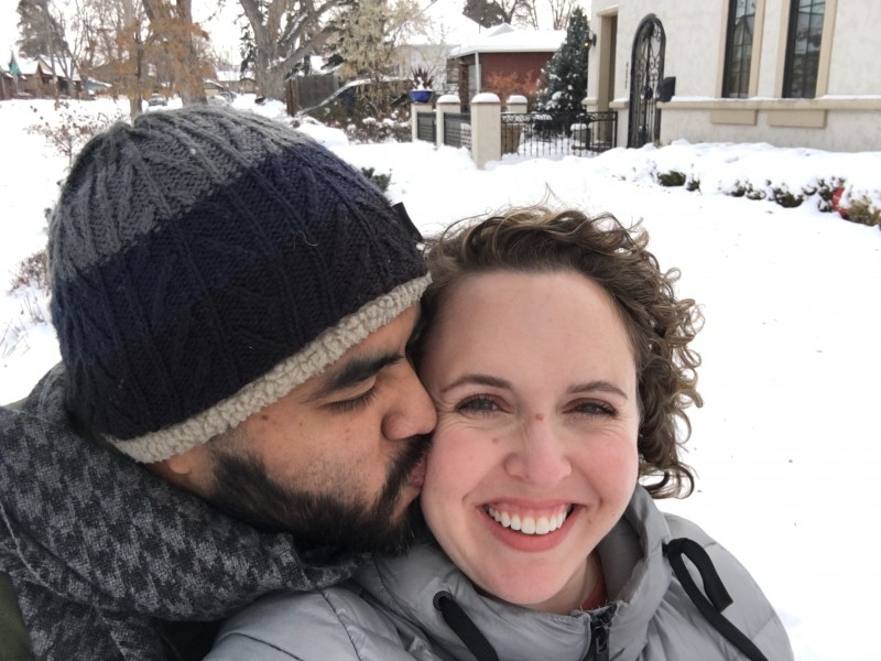 Enjoying the snow while visiting Diana's brother in Denver