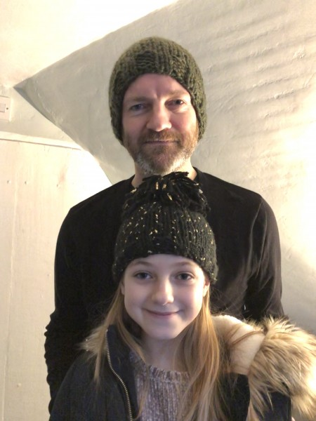 Tim and our niece, Erin, wearing hats that Sara knit for Christmas