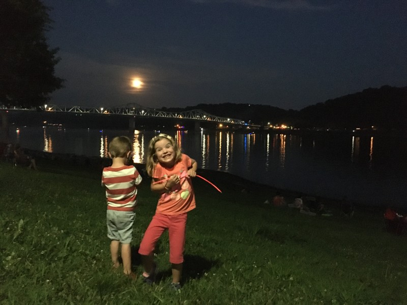 Because sometimes you ask to be in a picture just to refuse to actually be in it. Haha! This kid. L wanted a picture with the pretty moon and bridge.