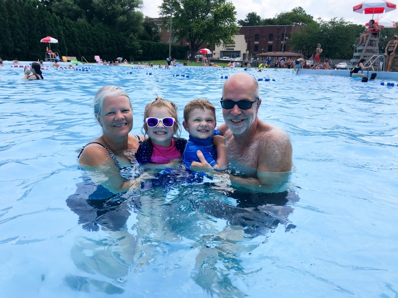 Swimming with Grandma and Bopa (Kendrick's Parents)