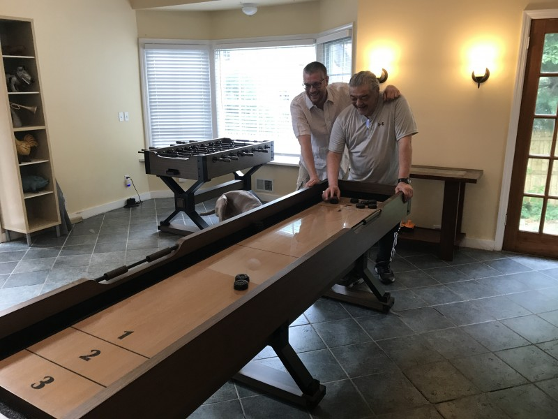 Greg and Dad in Game Room