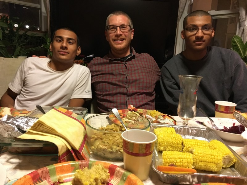 Greg with Nephews at Thanksgiving