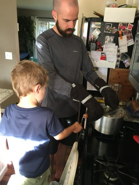 Making popcorn with daddy