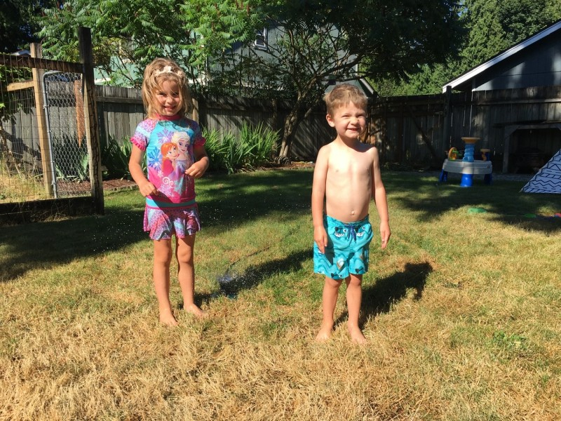 Playing in the sprinkler - they wanted it low