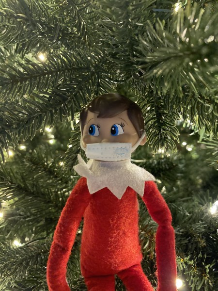 That sneaky elf is back and came prepared with his own mask