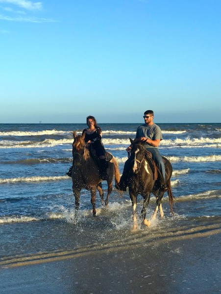 Riding horses on the beach on St Padre Island