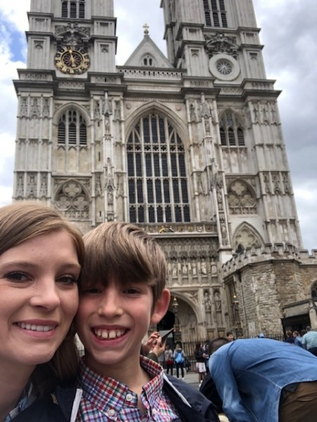 Last summer, Whitney took Jacob on a solo trip to tour around England, including Westminster Abbey!