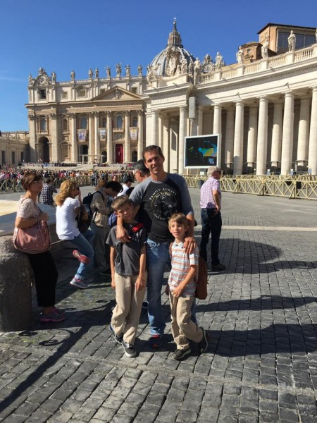 Jake, Jeremiah, and Jesse in the Vatican City in Italy