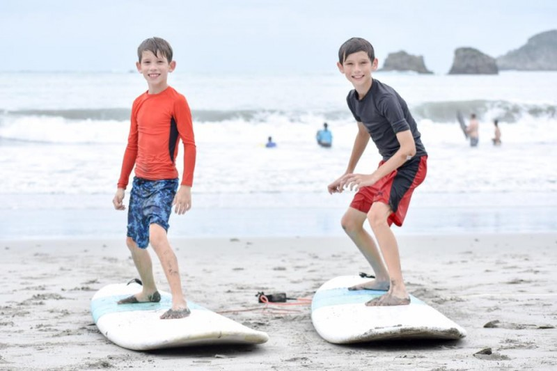 Jeremiah and Jake got to take surfing lessons in Costa Rica