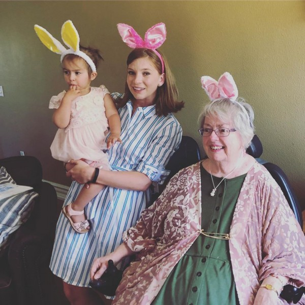 Easter bunny girls at the family get together with Whitney's niece, Mila, and grandmother, Stephanie!