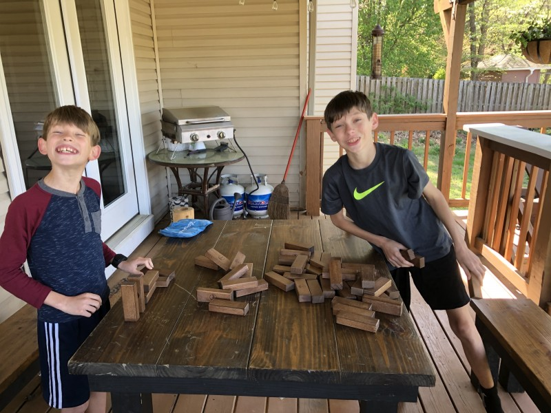 Sometimes, it's just you and the nearest brother, battling it out on the back porch with Jenga