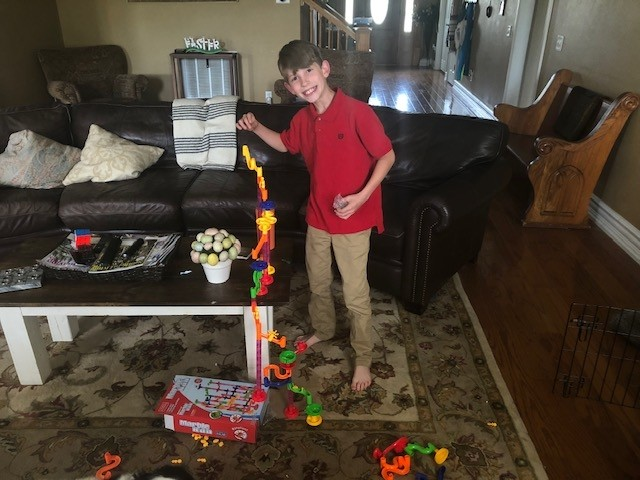 Jake is always building something so the Easter Bunny brought him a marble run game since he can't use the life size ones at the local kid's museum right now.