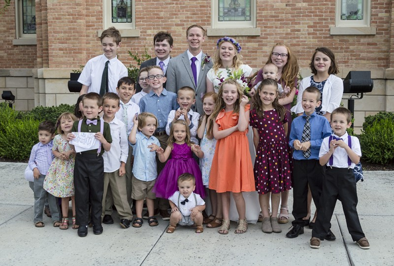 Here are our nieces and nephews on Nate's side of the family, along with our own kids, at his brother's wedding.