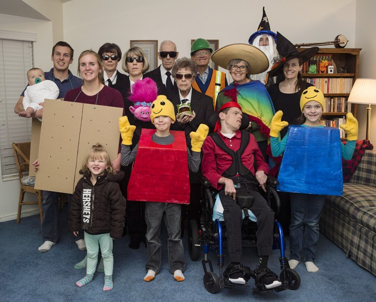Everyone in the family dresses up for the Halloween party!