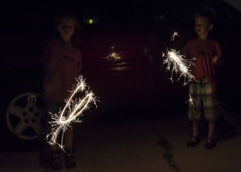 Independence Day would hardly be complete without fireworks...our kids love sparklers!