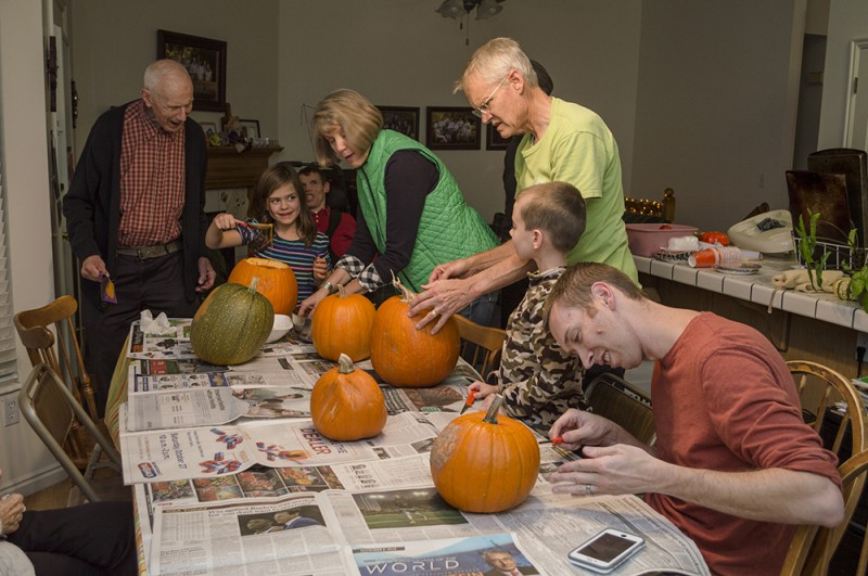 Each year we have a familiy Halloween party complete with pumpkin carving, treats, wearing costumes, and a movie.