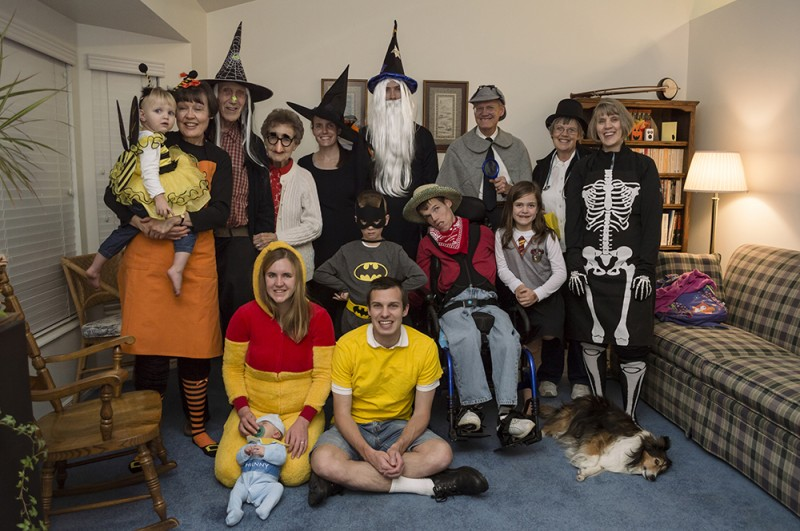 Here we are in our awesome costumes at the family Halloween party.