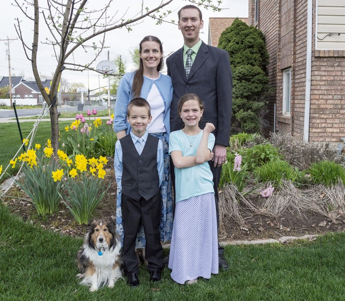 Here we are on Easter. We love the colorful flowers that bloom every year in our yard!
