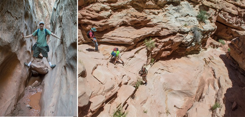 Hiking Ding and Dang Canyons. These technical slot canyons were a challenging first for us.