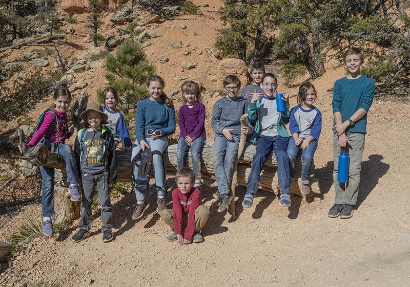 Southern Utah Hoodoos, here we come! On this occasion, we went hiking with some good friends in Red Canyon. This picture is of most of the group's kids together there.