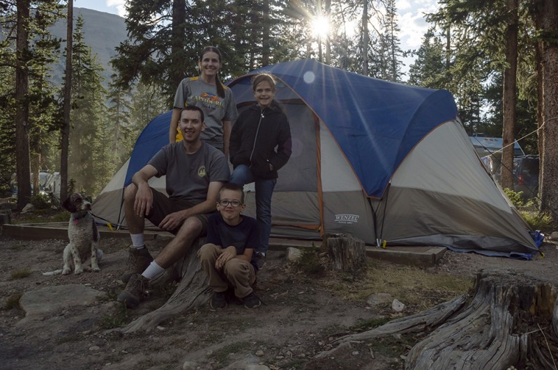 Here we are by our tent. We often camp during family reunions and sometimes just on our own too.