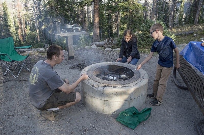 Roasting marshmalows is definitely a must when we are out camping!