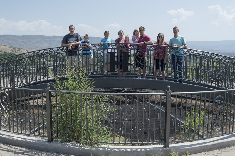 """We hiked up the steps to stand over """"The Crater"""" in Midvale at The Homestead. We love spending time at this resort with extended family."""