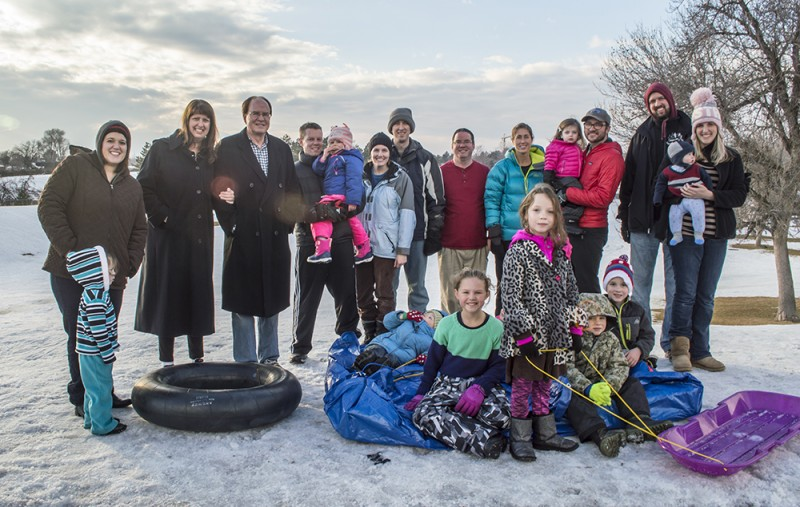 """Here we are with a group of close friends and their kids to go """"mattress sledding."""""""
