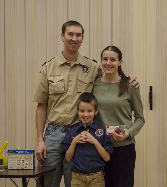 Austin getting his Wolf award for Cub Scouts